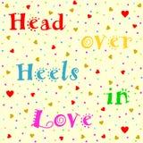 Head over Heels in Love lettering Stock Image