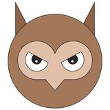 Head of owl in cartoon flat style royalty free illustration