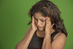 Head pain indian women Stock Image