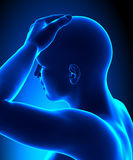 Head pain. A Man with a Headache Royalty Free Stock Images