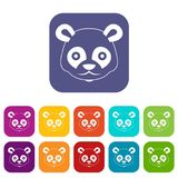 Head of panda icons set Royalty Free Stock Photography