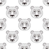 Head Panda seamless pattern in zentangle style. Freehand sketch. For adult coloring page with doodle elements. Ornamental artistic vector illustration for Royalty Free Stock Photography