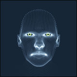 Head of the Person from a 3d Grid. Human Head Model. Face Scanning. View of Human Head. 3D Geometric Face Design. 3d Covering Skin Royalty Free Stock Photo