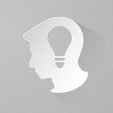 Head of person thinking idea, Light bulb in paper head, Vector Royalty Free Stock Image