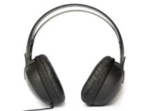 Head phone. Black head phone isolated on a white background Royalty Free Stock Photo