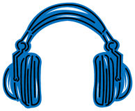 Head phone. Black and white line with blue tint Stock Photography