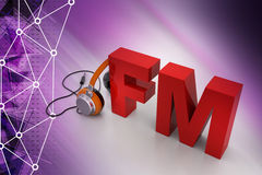Head phone with FM. In color background Royalty Free Stock Images