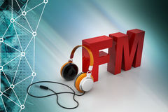 Head phone with FM. In color background Stock Image