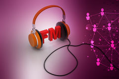 Head phone with FM. In color background Stock Photo
