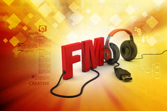 Head phone with FM text Royalty Free Stock Images