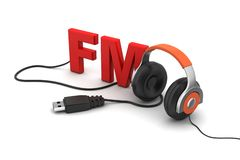 Head phone with FM text Royalty Free Stock Image