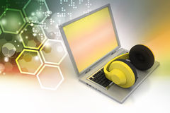 Head phone with laptop Royalty Free Stock Photos