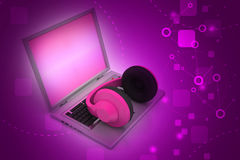 Head phone with laptop Royalty Free Stock Image
