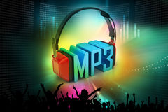Head phone with mp3. In attractive background Stock Photo