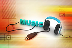 Head phone with music text Royalty Free Stock Photos