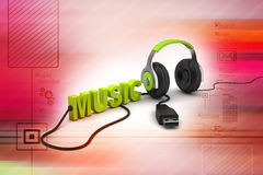 Head phone with music text Stock Image