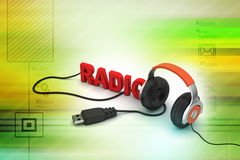 Head phone with radio text Royalty Free Stock Photos