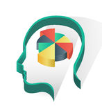 Head with pie chart Royalty Free Stock Photo