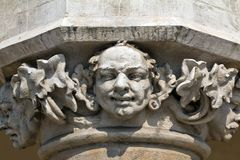Head of pillar designed by jan matejko on cloth hall on main market square in cracow in poland Royalty Free Stock Photo
