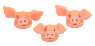 Head of pink pig -set. Cute pig cartoon. Pig head isolated. Vector illustration set Royalty Free Stock Photo