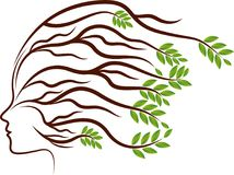 Head plant roots logo. Illustration art of a head plant roots logo with background stock illustration