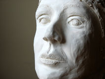 Head of plaster 2. Woman head sculptured from plaster and love Royalty Free Stock Photography