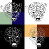 The head of the polar bear tattoo background stock illustration
