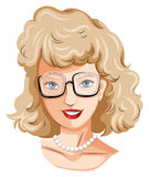 A head of a pretty lady with an eyeglass Royalty Free Stock Photos