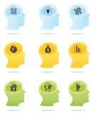 Head profiles with idea symbols. Vector coloured thinking head silhouettes icons Royalty Free Stock Photography