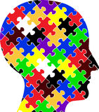 Head puzzle. Illustration art of a head puzzle with isolated background Stock Illustration