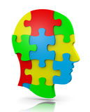Head Puzzle. Colorful Human Puzzle Head Illustration on White Stock Images