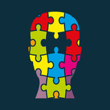 Head puzzle colorful Stock Image