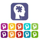 Head with puzzle icons set flat Stock Image