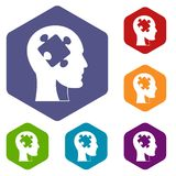 Head with puzzle icons set hexagon Stock Image