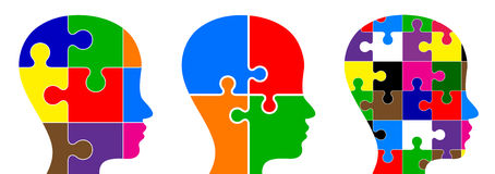 Head puzzle. Illustration of head puzzle on white background Stock Illustration