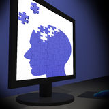 Head Puzzle On Monitor Showing Human Brightness Royalty Free Stock Images
