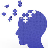 Head Puzzle Shows Slipping Ideas. Or Thoughts Stock Images