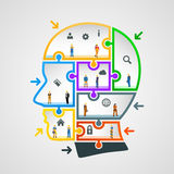 Head of puzzles with workers Royalty Free Stock Photography