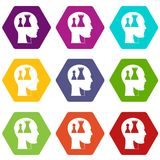 Head with queen and pawn chess icon set color hexahedron. Head with queen and pawn chess icon set many color hexahedron isolated on white vector illustration Royalty Free Stock Photos