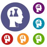 Head with queen and pawn chess icons set. In flat circle red, blue and green color for web Stock Photo