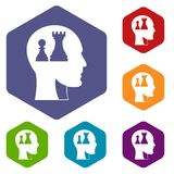 Head with queen and pawn chess icons set hexagon. Isolated vector illustration Royalty Free Stock Photos