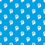 Head with queen and pawn chess pattern seamless blue. Head with queen and pawn chess pattern repeat seamless in blue color for any design. Vector geometric Royalty Free Stock Image