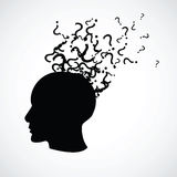 Head with a question marks Royalty Free Stock Photo
