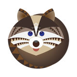 Head of raccoon, decorative geometric stylization Royalty Free Stock Photo
