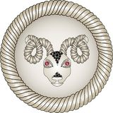 Head of the ram. Zodiac signs (aries). Royalty Free Stock Photo