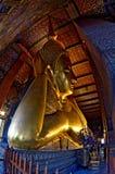 Head of the Reclining Buddha in Wat Pho. Head of the golden Reclining Buddha in Wat Pho, Bangkok, Thailand Stock Photos