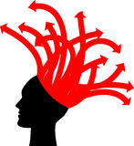 Head with red arrows Royalty Free Stock Images