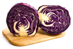 Head of red cabbage, cut in half stock image