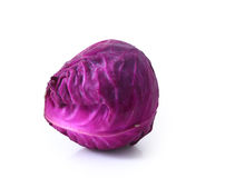 Head of red cabbage over white. Stock Photos