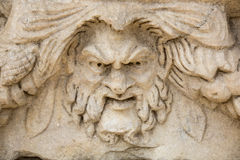 Head relief on the Portico of Tiberius in Aphrodisias, Aydin, Tu Stock Images